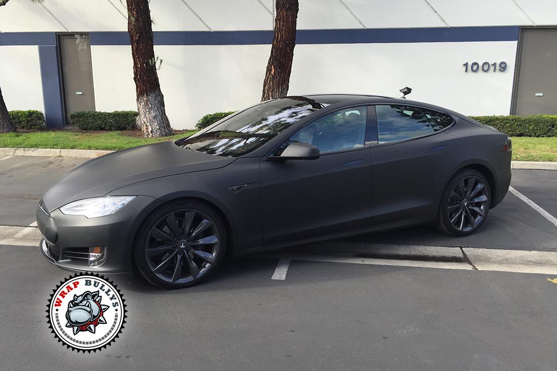 Tesla Model S Wrapped in Matte Black Wrap